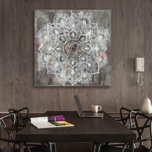 Zen Mandala in wit verontruste Canvas schilderij schilderij ...