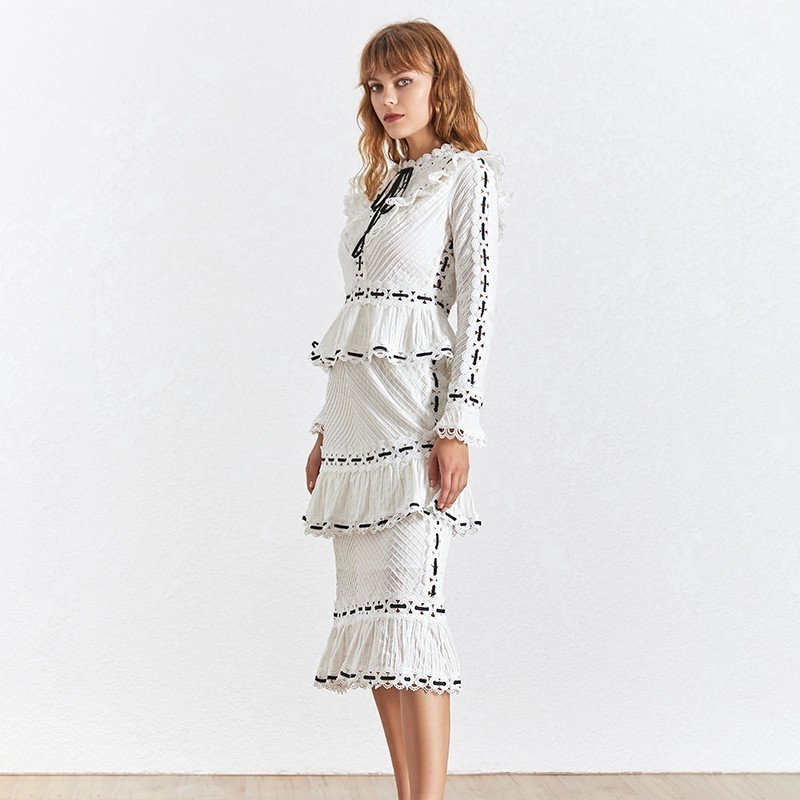 TWOTWINSTYLE Vintage Print Women Dress Stand Collar Flare Sleeve High Waist Hollow Out Slim Midi Dresses Female 2019 Summer-in Dresses from Women's Clothing    2