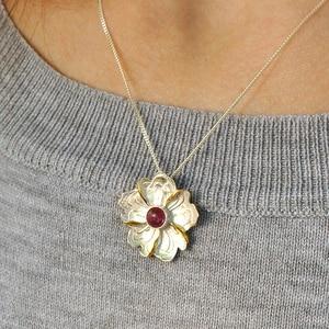Image 5 - Lotos zabawy prawdziwe 925 srebro naturalne turmalin Handmade Fine Jewelry piwonia wisiorek kwiat bez naszyjnik dla kobiet