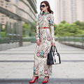 2016 S-3XL Elegante Floral Vestido Longo Fino de Lápis Queda Colarinho Mulheres Maxi Vestidos de Manga Comprida Muçulmano Robe Femme Tamanho Grande