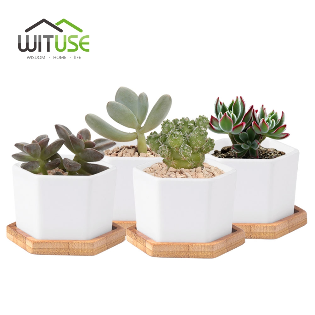 WITUSE 4pcs set White Ceramic Flower Pot Balcony Decorative for Garden Hexagonal Plant Pot Tray Glazed