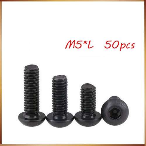 <font><b>m5</b></font> 12mm 50Pcs Hex Socket Round Head Cap Black Screw <font><b>M5</b></font> Steel Screws Furniture Fastener <font><b>Bolt</b></font> <font><b>M5</b></font> *8mm/<font><b>10mm</b></font>/12mm/16mm/20mm image