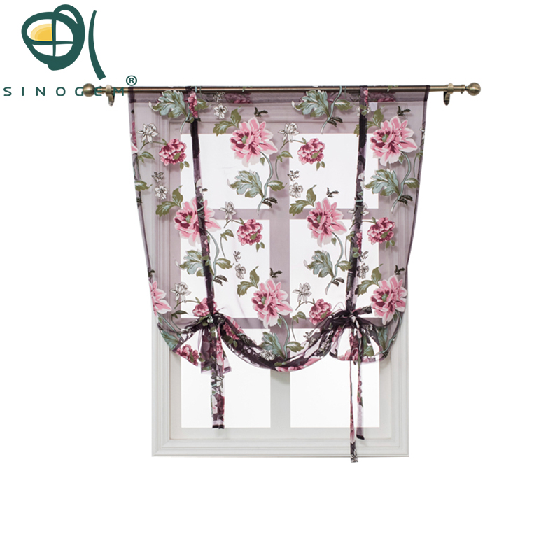 Hot Sale Kitchen Short Sheer Burnout Roman Blinds Curtains Peony