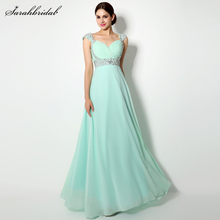 Fast Shipping Elegant Chiffon Prom Dresses Long Mint A Line Cap Sleeves Sequins Sweetheart Beaded Party Evening Gown SLD179