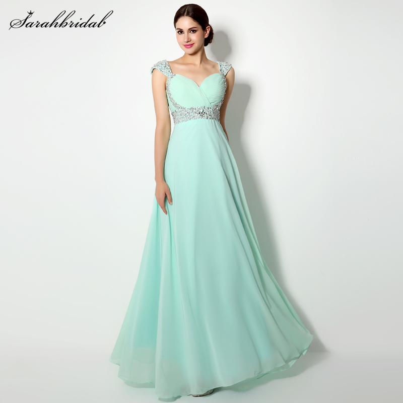 Fast Shipping Elegant Chiffon   Prom     Dresses   A-Line Cap Sleeves Sequins Sweetheart Beaded Party   Dresses   Evening Gown SLD179