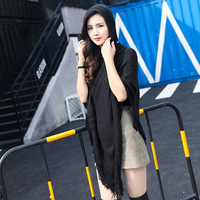 SUMEIKE New Tassel Knitted Hooded Women Poncho Solid Hollow Out Hole Shawls Scarves Wraps Female Loose Winter Hoodies Scarf