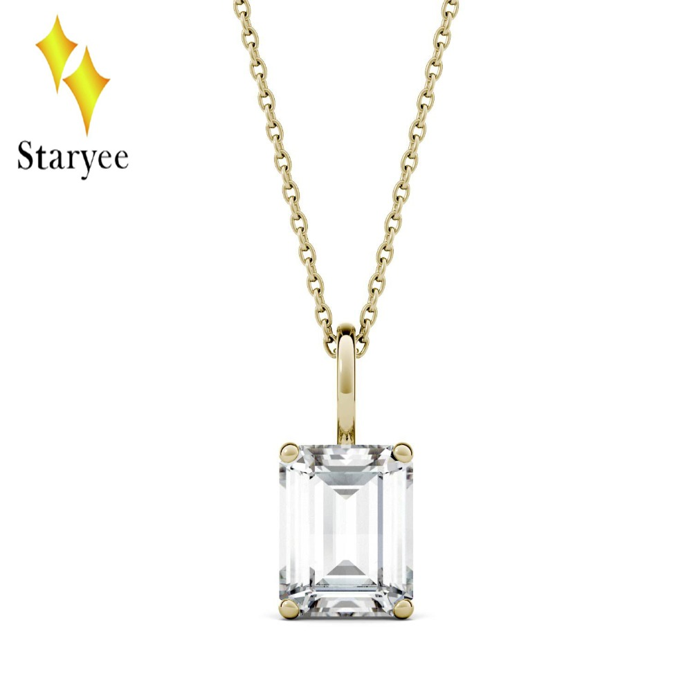 Real 18K Yellow Gold 2.45ct 9*7mm Emerald Engagement Band Moissanite Solitaire Pendant Diamond Necklaces Chain For Women Jewelry moissanite pendant 18k 750 yellow gold round brilliant lab grown moissanite diamond pendant necklace chain for women jewelry