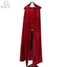 Walk рядом с вами бордовая накидка на Хэллоуин с капюшоном свадебный плащ свадебное пальто длинное зимнее бархатное Болеро женская накидка для рождественской вечеринки