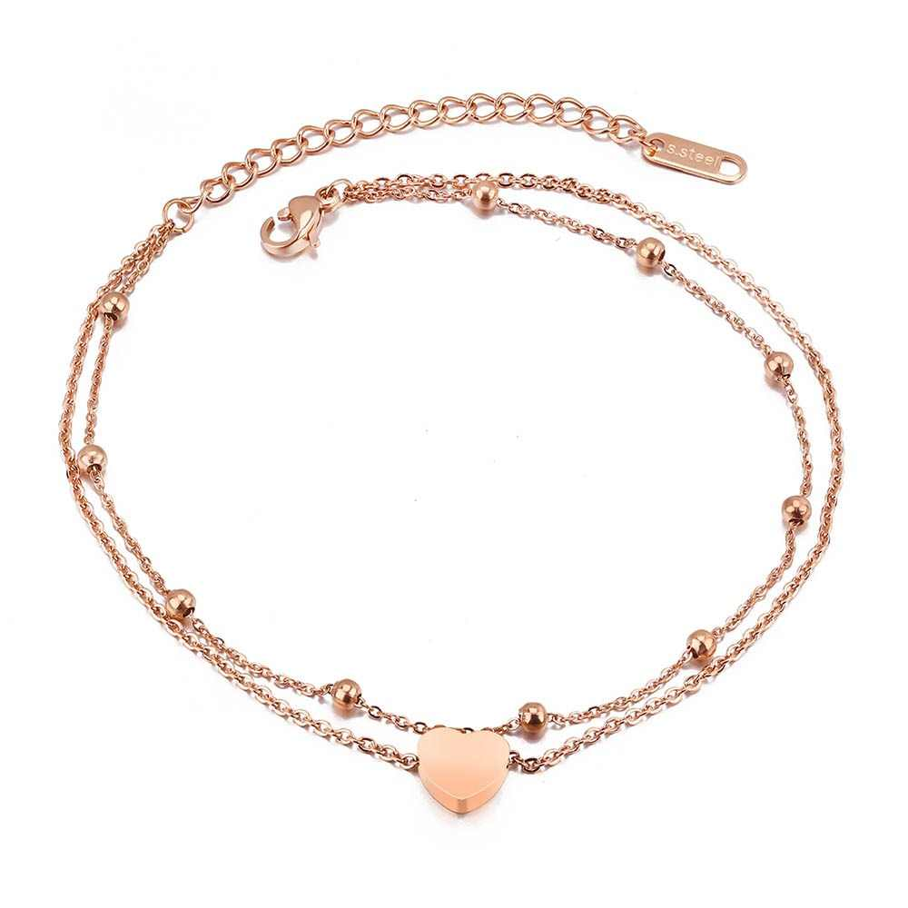 Lokaer New Fashion Double Layer Stainless Steel Heart Charm Anklets For Women Rose Gold Color Leg Bracelet Foot Jewelry LGZ039