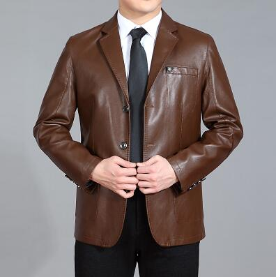 Brown black business Sheep skin PU leather jacket high quality casual suits mens faux leather jackets and coats big size 4XL