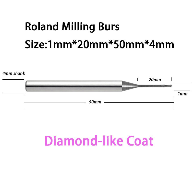 1.0mm Diamond Ball 20mm Reach Length  Roland D50 51D Carbide Milling burs With DLC Diamond-like Coat 1pc zirkon zahn system dental milling burs and stylus 1l 2l 4l to be chosen