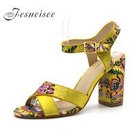 Fesneisee Mùa Hè Phụ Nữ Sandals Mở Toe Lật Flops của Phụ Nữ Sandles Gót Vuông Lụa Phụ Nữ Giày Casual Phong Cách Giày Ngoài Trời 4.0
