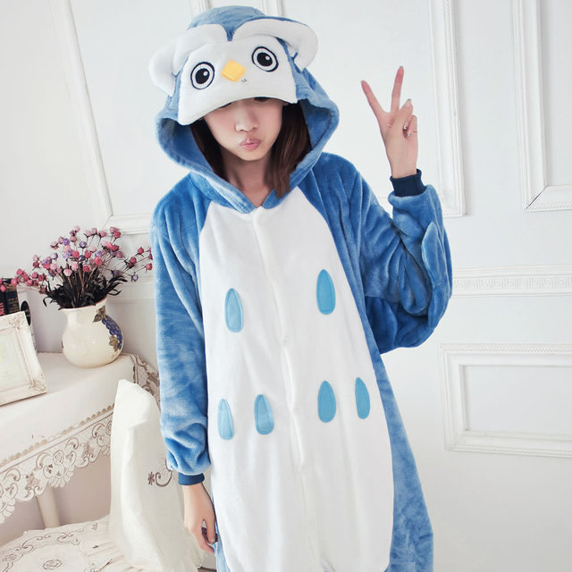 Pajamas For Women Winter Adult Animals Sleepwear Hooded Unisex Cartoon Fashion Clothing Owl Flannel Pajama Sets Animal Pajama