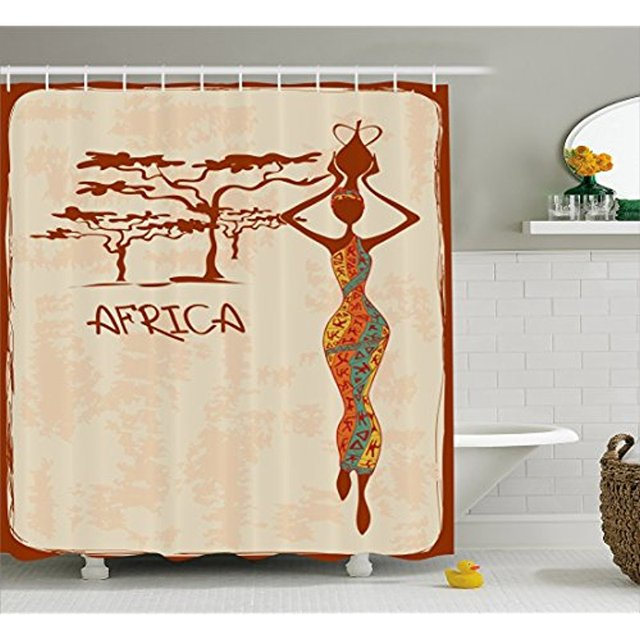 Vixm African Woman Shower Curtain Vintage Africa Themed Illustration Slim Indigenous Girl Colorful Dress Fabric Bath