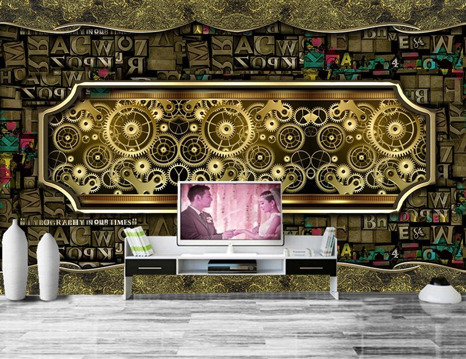 Nostalgia letter combinations Metal Gear restaurant bar wallpaper papel de parede, living room sofa TV wall bedroom large murals
