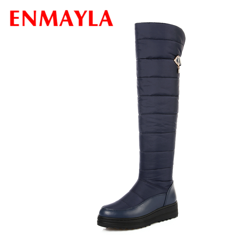ENMAYLA Winter Long Snow Boots Women Flats Platform Over the Knee High Boots Blue Crystal Shoes Woman Warm Thigh High Boots ppnu woman winter nubuck genuine leather over the knee snow boots women fashion womens suede thigh high boots ladies shoes flats