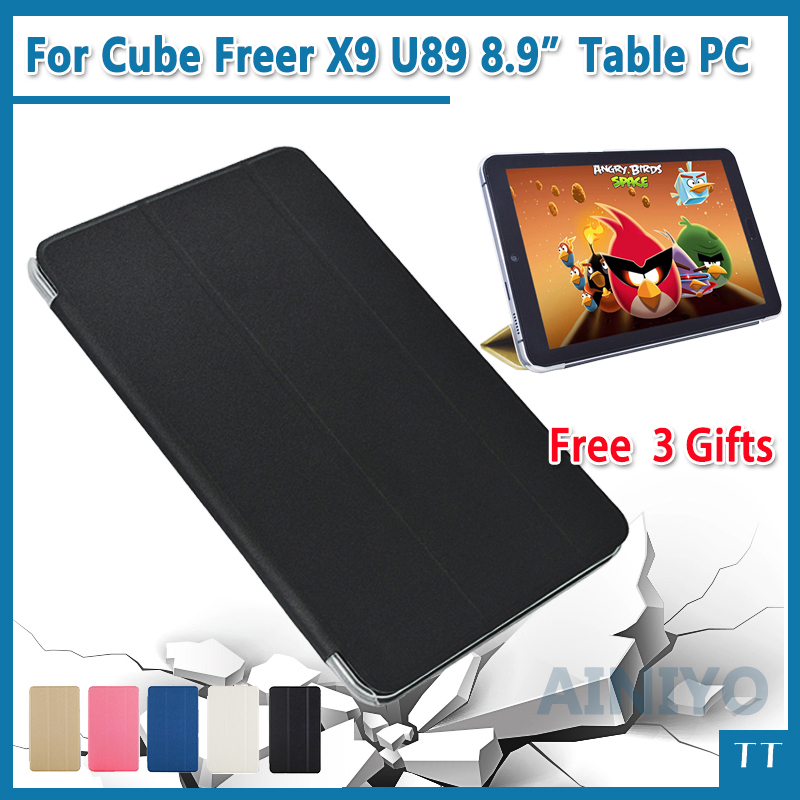 high quality ultra thin pu cover case for cube t12 t10 free young x7 t10 plus 10 1 inch tablet pc High quality Ultra-thin PU cover Case For ALLDOCUBE/CUBE Freer X9 U89 8.9 inch Tablet PC + free 3