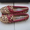 Tamaño grande EE.UU. 9 EUR 40 Cuero Genuino Pelo de Caballo Animal Estampado de leopardo Mujeres Ballet Flat Shoes Slip on Driving Mocasín mocasín