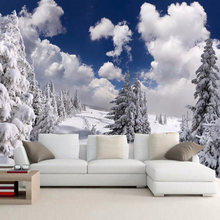 Personalizado foto papel paisaje De nieve De invierno bosque Pared Mural De la Pared Decoración sofá De la sala De TV Wallpaper Mural De Pared 3D(China)