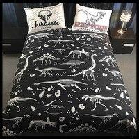 Washed Cotton Soft Bed Linen Set 3D Dinosaur Print Bedding Sets King Queen Size Bed Set
