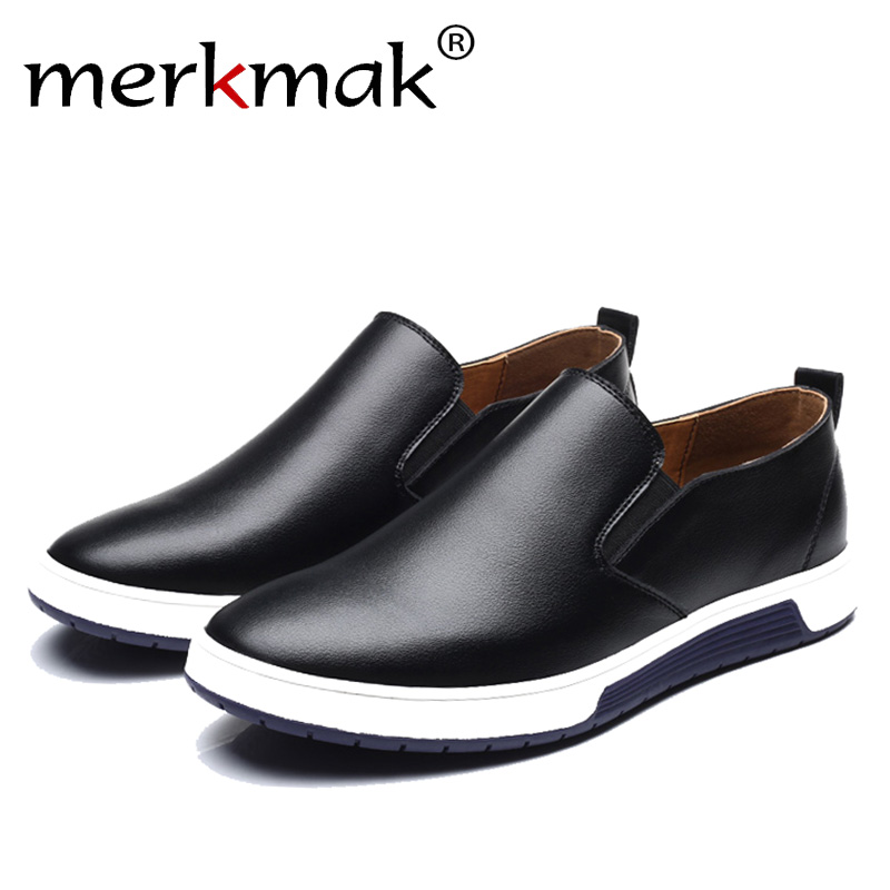 Merkmak Spring Autumn Men Leather Loafer Shoes Fashion Slip On Men's Casual Moccasins Brand New Loafers Leisure Plus Size 37-48
