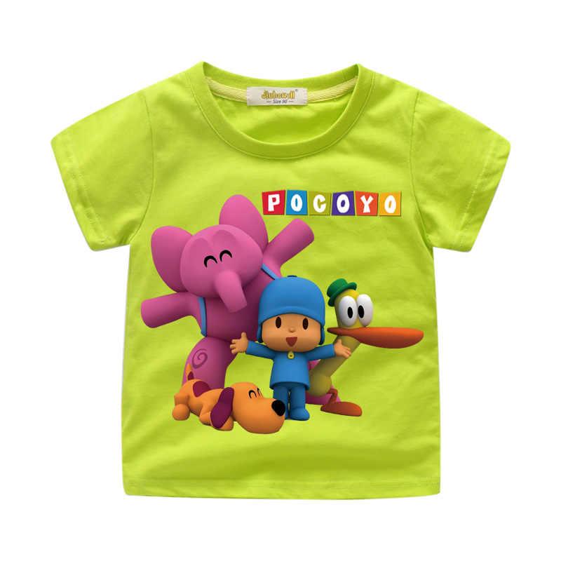 Crianças Camiseta Branca Encabeça Roupas Para Crianças 3D Engraçados Dos Desenhos Animados Pocoyo Tshirt Impressão Traje Menino Camisetas Camisa Das Meninas T de Roupas WJ025