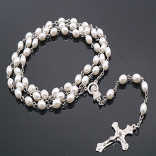 Catholic Crystal White Pearl Long Chain Rosary Necklace Ladies Jesus Jewelry Gift