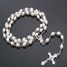 Catholic Crystal White Pearl Long Chain White Rosary Catholic Necklace Ladies Long Necklace Jesus Jewelry Gift
