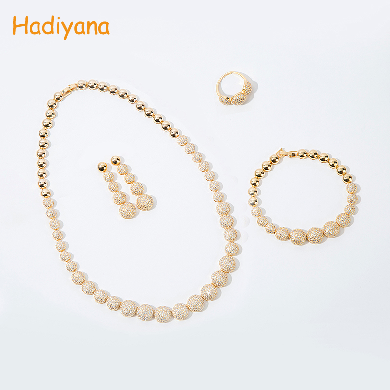 Hadiyana New Wedding AAA Cubic Zircon Jewelry Set For Bride Women Dubai Jewelry Sets With Earring bracelet Ring Necklace CN322 round flowers pendant necklace and stud earring jewelry set for women with aaa cubic zircon hight quality fashion jewelry sets