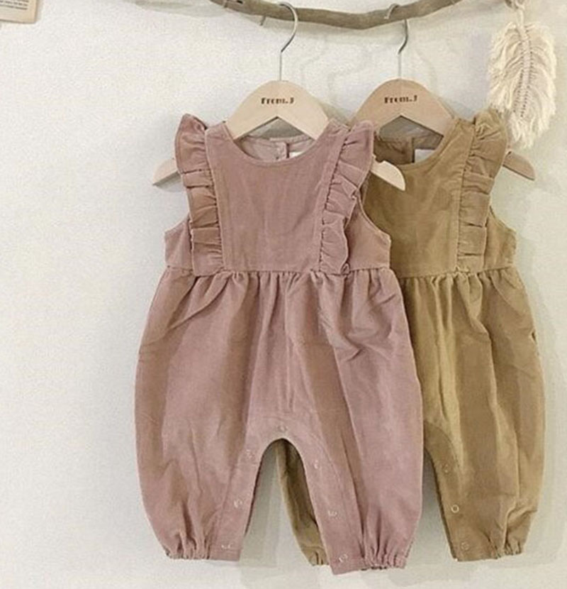 Baby Boys Girls   Rompers   Corduroy Toddler Girls Ruffles Overalls Korean Style Kids Autumn Spring Overalls Sweet Child Clothing