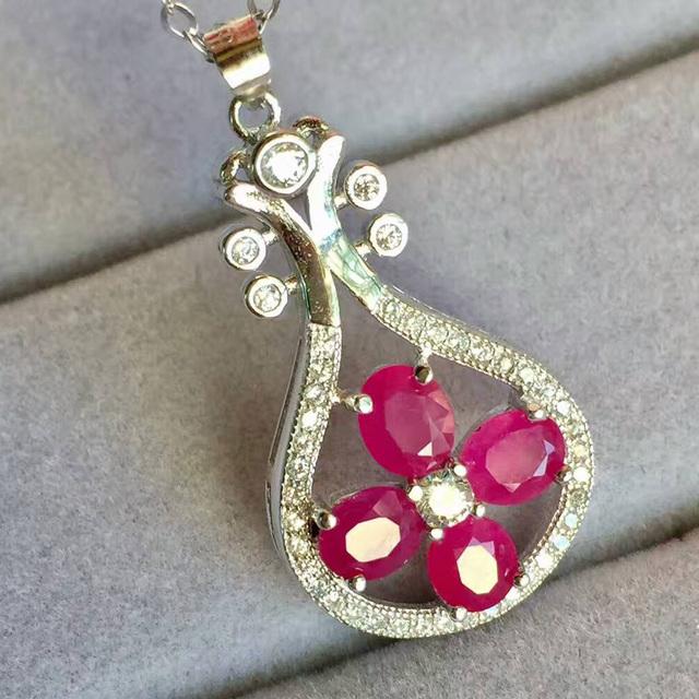 Estilo chinês pingente de rubi colar de prata 1.2 ct natural blood red ruby gemstone pingente 925 prata esterlina sólida jóia de rubi
