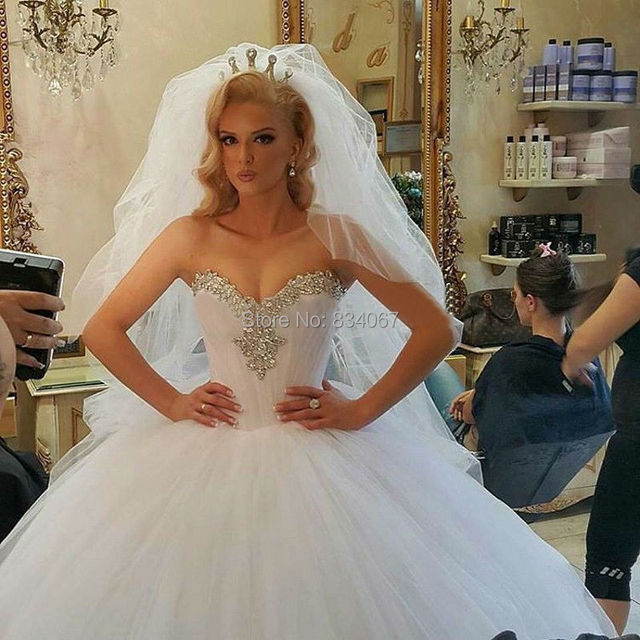 Stunning Beading Corset Ball Gown Wedding Dress 2017 Sweetheart Back ...