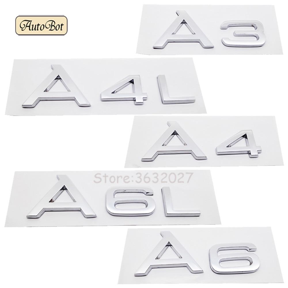 Car Styling ABS Car Emblem Rear Number Letter Sticker For Audi A3 A4 A4L A6 A6L A5 A7 A8L Q3 Q5 Q7 TT S3 S4 S5 S6 S7 S8 A4 B6 интеркулер audi a3 a4 a5 a6 a6l a4l q3 q5 1 8t 2 0t