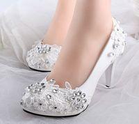 Altos tacones bajos zapatos de los rhinestones blancos de novia de encaje de novia de la boda bombas de zapatos de primavera verano de dama de honor de XNA 242