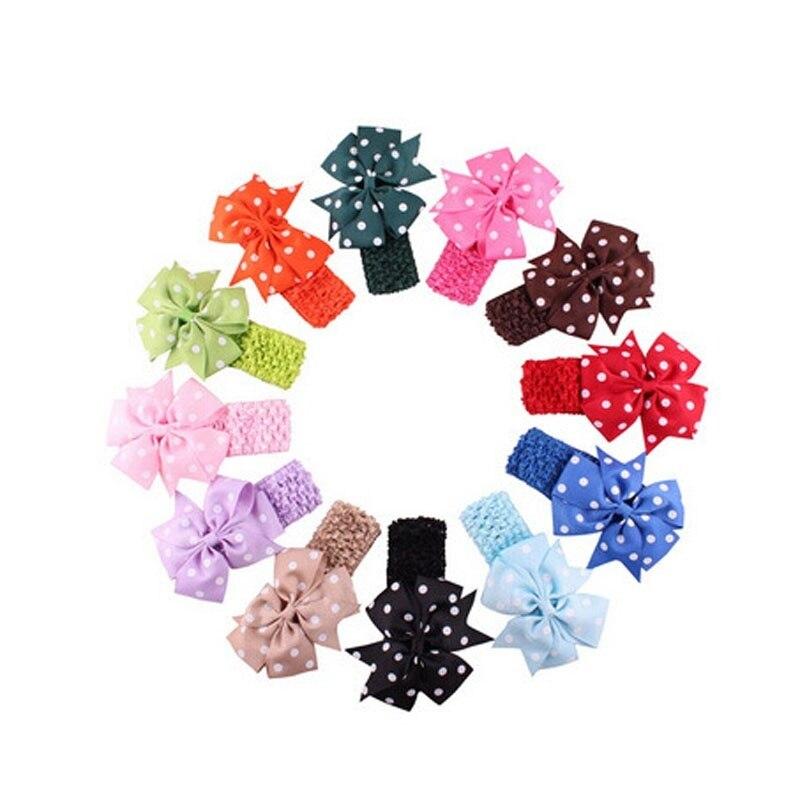 Babys Headbands Girls Flower bowknot Headband Flower Head Wear Hair Bow Wave NEW