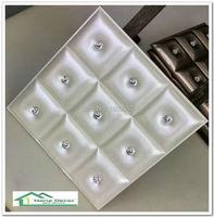 Lederen panel 3D diamant PU Lederen wandpaneel Leer Akoestische Panelen woonkamer backgroumd behang 20 stks 40*40*2.5 CM