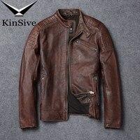 Элитная кожаная куртка Для мужчин модные Винтаж Натуральная кожаные пальто мото Байкер теплые куртки бомберы jaqueta de couro masculino