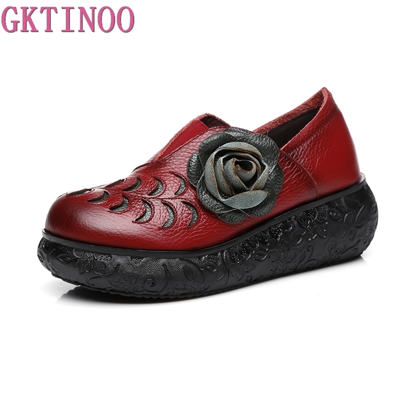 GKTINOO 2018 Women Autumn Genuine Leather High Heels Shoes Handmade Vintage Flower Platform Wedges Shoes Woman Pumps