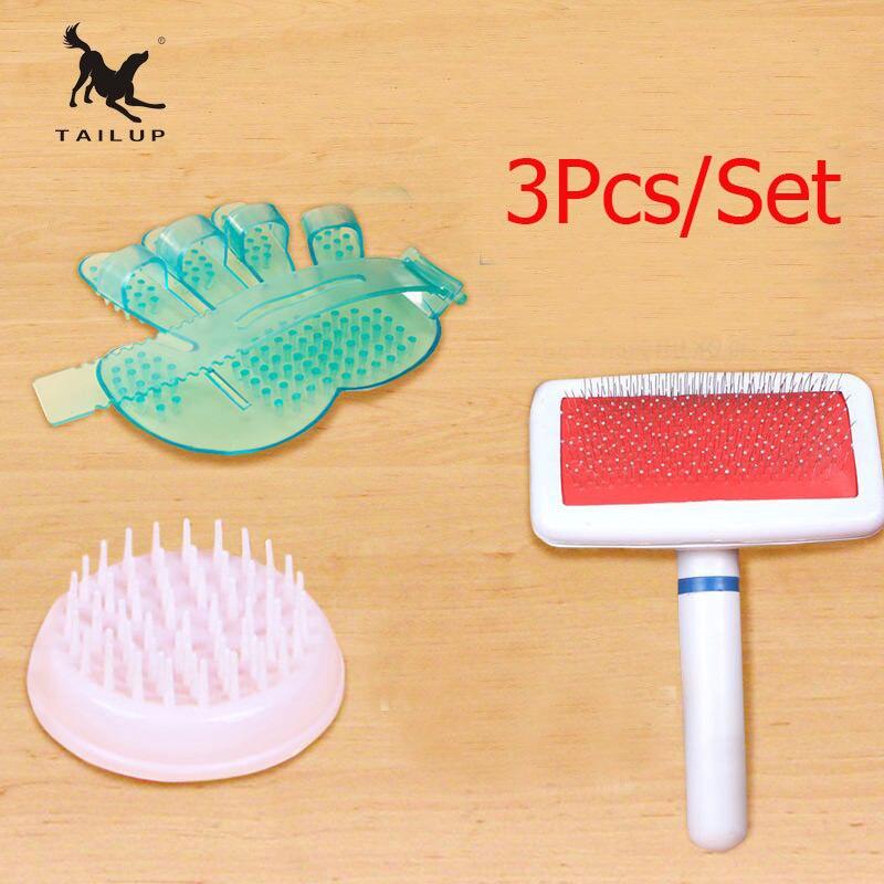 OCHRANA 3ks / Set Pet Bath Sprayers Vlasy Pohyblivé Rukavice Měkká Masáž Vana Štětec Pro Psy a Kočky Pet Hair Grooming Comb Comb