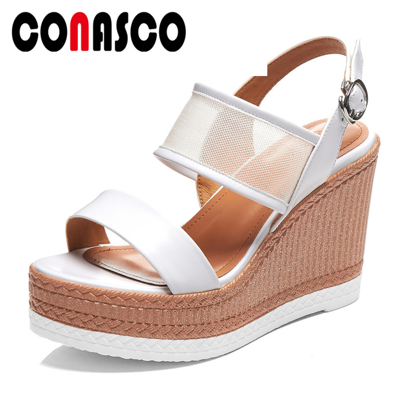 Conasco Summer New Fashion Concise Genuine Leather Mesh Women Sandals Solid Sweet Wedges Buckle Platforms Casual Shoes Woman Highly Polished Shoes Heels