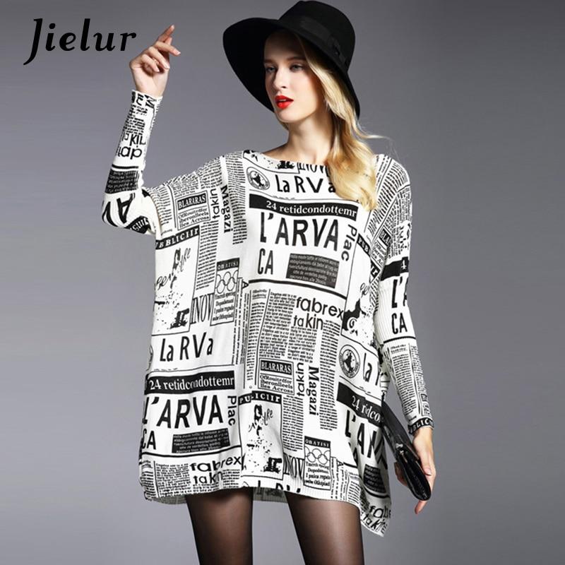 Winter Herbst Neue Plus Size Brief Gedruckt Pullover für Frauen Lose Mode Flügelhülse Pullover und Pullover Lange Strickwaren