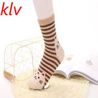 KLV 2017 New Fashion Amazing 1 Pair 3D Animals Striped Cartoon Cat Socks for Women Cotton Sock Spring Summer and Autumn