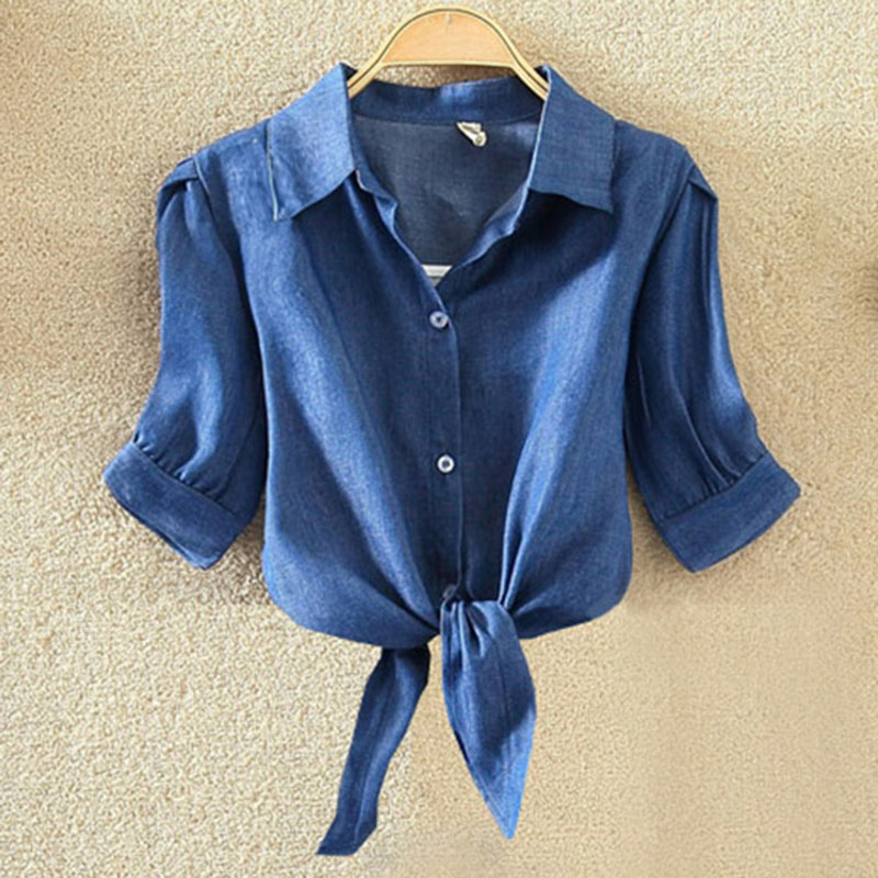 Womens Beach Tops And Blouses Shirt Turn-Down Collar For Blusas Femme Holidays Lady Woman Casual Sexy Blue Tees Plus Size 4XL