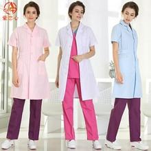 Pakaian wanita perubatan Pakaian perubatan Lab pakaian Putih kot Pakaian untuk doktor Musim panas dan Spring-AI