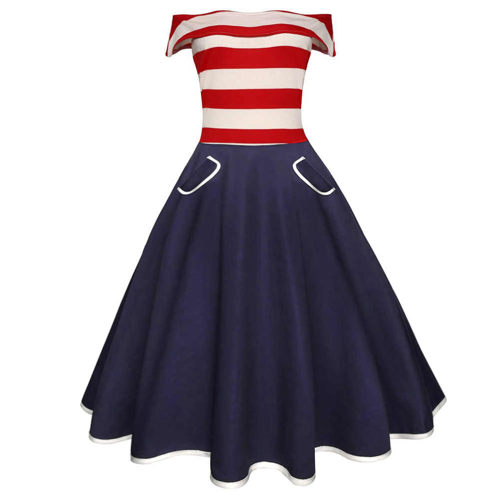Joineles Stripe Patchwork Women Retro Dress Slash Neck Short Sleeves Summer Vintage Dress 60s Audrey Hepburn Rockabilly Vestidos
