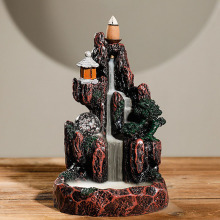 13*18*13.5cm Resin Backflow Incense Burner Holder Smoke Led Glowing Ball Mountain Home New