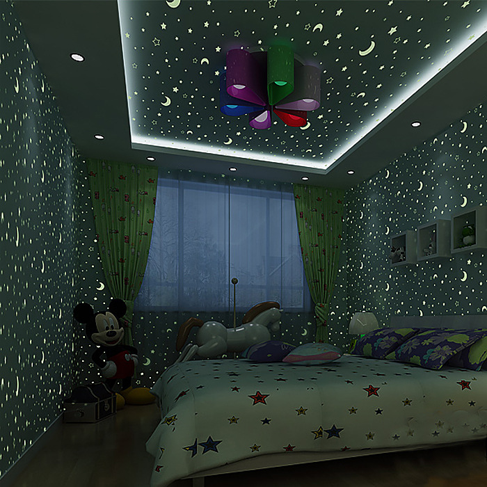 Luminous stars and moon children's room environmental non-woven wallpaper boy girls bedroom roof cartoon fluorescent wallpaper non woven luminous wallpaper roll stars and the moon boys and girls children s room bedroom ceiling fluorescent home wallpaper