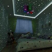 Luminous stars and moon children's room environmental non woven wallpaper boy girls bedroom roof cartoon fluorescent wallpaper