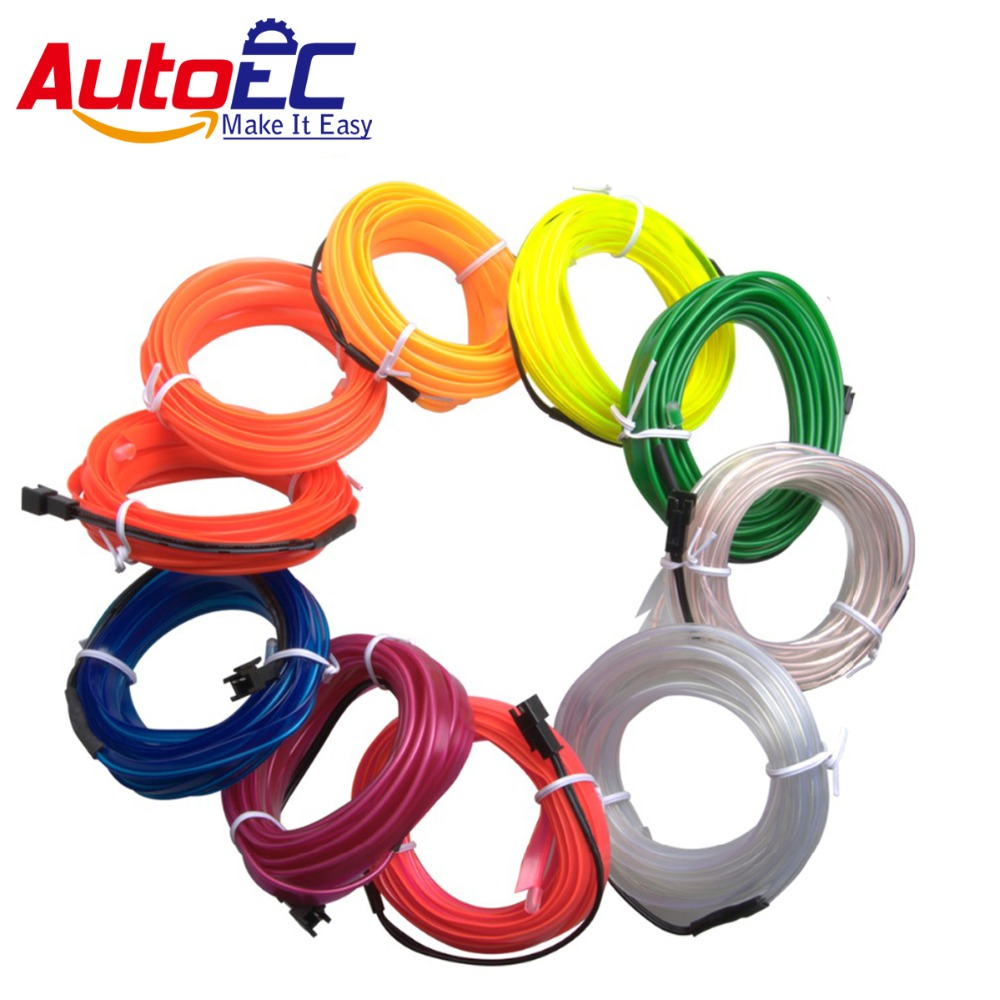 AutoEC100x 5m edges flexible el wire neon light glow salon flat led ...