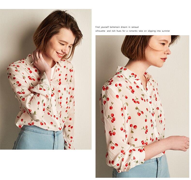 multiple De Impresión Las Blusa Camisa 100 Blusas Cereza 2018 Nuevo Gasa Gran Natural Señora Negro Oficina Calidad La Alta Tamaño Seda Mujeres 1xnXvnSd